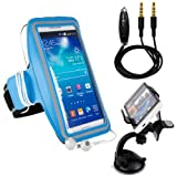 "Samsung Galaxy S7 Edge / S7 / J7 Prime / Z2 / On5 Pro / On7 Pro / J7 Premium Water Resistant Sports Armband with Key Holder (10-18"" Strap) + Auxiliary Cable + Windshield Car Mount"