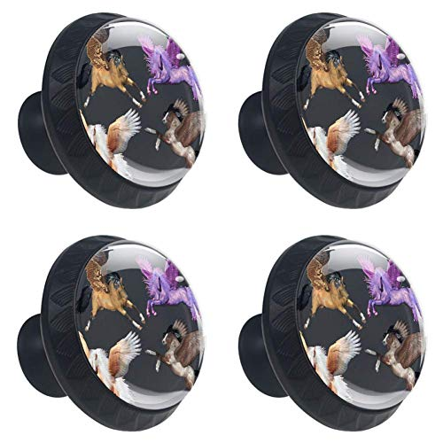 LORVIES Pegasus Horse Pony Fantasy Magic Drawer Knob Pull Handle Crystal Glass Circle Shape Cabinet Drawer Pulls Cupboard Knobs with Screws for Home Office Cabinet Cupboard (4 -