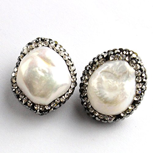 Freshwater Marcasite Earrings - 2pcs Natural real freshwater pearl Gemstone Marcasite Zircon beads for DIY Jewelry Making Beads (Coin Nuggets pearl)