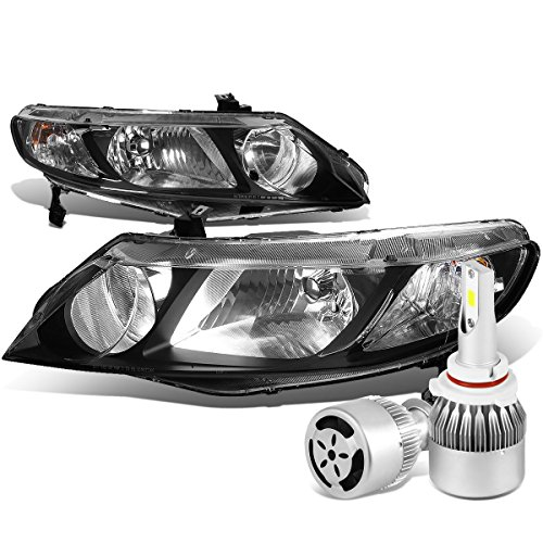 For Honda Civic 8th Gen 4DR Sedan Pair of Black Housing Clear Corner Headlight + 9006 LED Conversion Kit - Civic Sedan Honda Headlights 2011