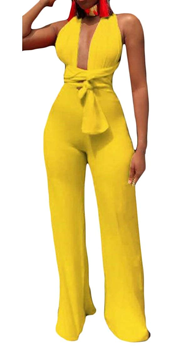 P/&E Womens Bandage Backless Sleeveless Plain Multi-Way Rompers Jumpsuits
