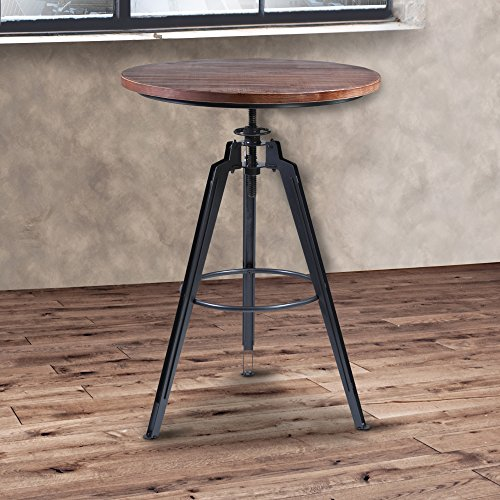 Armen Living LCTRPUGMPI Tribeca Pub Tables with Ash Wood and Industrial Grey Metal Finish ()