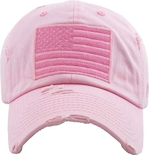 Funky Junque Womens Baseball Cap Distressed Vintage Unconstructed Embroidered Dad Hat (American Flag - Pink)