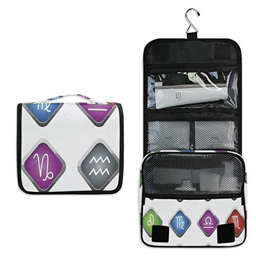 The 12 Zodiac Toiletry Bag Multifunction Cosmetic Bag Portable Makeup Pouch Waterproof Travel Hanging Organizer Bag for Women Men Girls
