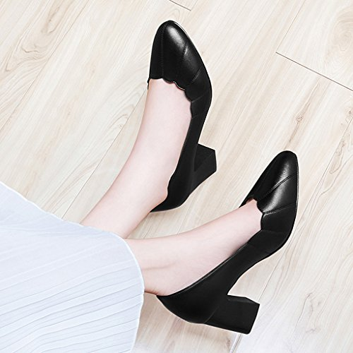 Pu Envelopper Profonde Pour Femmes Printemps Peu Épais L'orteil De Chaussures Supérieur Tête Bouche Hauts Pointue Escarpins Talons Talon Noir dYqdfP