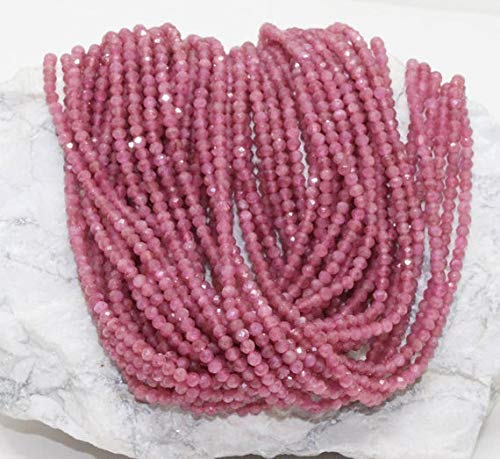 GemAbyss Beads Gemstone 40% Discount Best Quality Genuine Natural Pink Tourmaline Beads/Rondelle Micro Faceted Bead/Strands 13 inches Long/Size 3MM/Semi Precious -