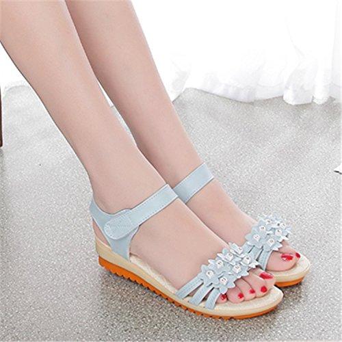 Las mujeres los zapatos de cuero verano Sandalia Tacón,34 blanco Blue