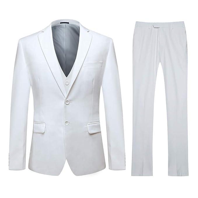 YOUTHUP - Traje Formal para Hombre de 3 Piezas, 2 Botones Blanco Blanco L