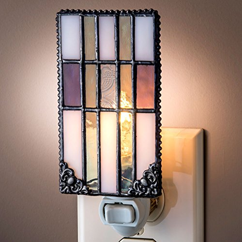 J Devlin NTL 170 Mission Style Vintage Purple Sage Green Clear White Stained Glass Night Light with (Art Glass Light Fixture)