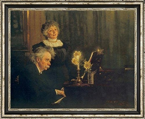 Nina y Edvard Grieg by Peder Severin Kroyer Framed Canvas Art Print - Ready