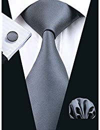 Hi-Tie Classic Necktie Set Solid Color Silk Tie for Men