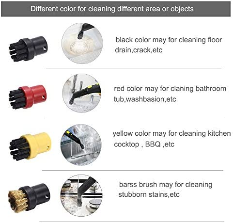 EMEXIN Round brushes nozzle for Kärcher Steam Cleaners SC1 SC2 SC3 SC4 SC5 SC6 (8)