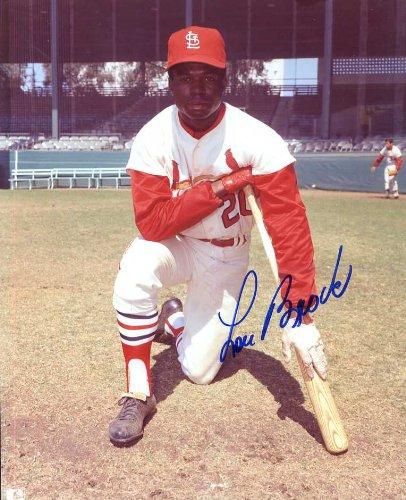 (Lou Brock (HOF) Autographed/ Original Signed Color 8x10 Photo Showing Him With the St. Louis Cardinals)