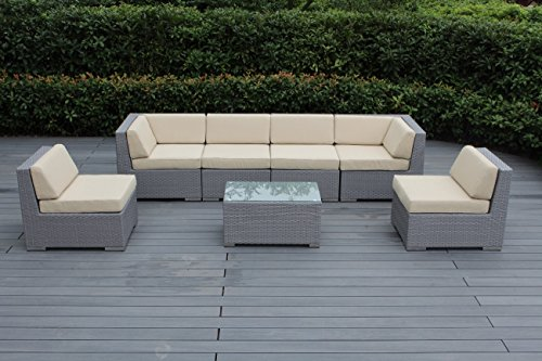 Ohana 7-Piece Outdoor Patio Furniture Sectional Conversation Set, Gray Wicker with Beige Cushions – No Assembly with Free Patio Cover
