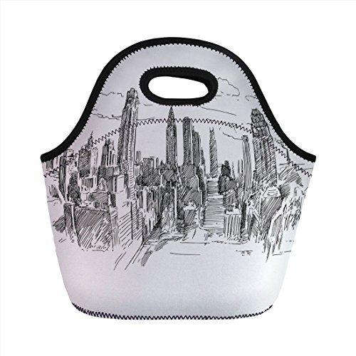 Neoprene Lunch Bag,New York,Hand Drawn NYC Cityscape Tourism Travel Industrial Center Town Modern City Design,Grey White,for Kids Adult Thermal Insulated Tote Bags ()