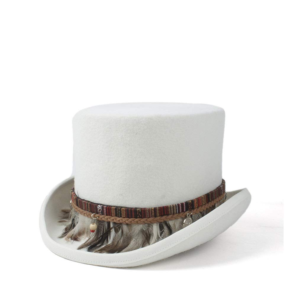 Gentleman 100/% Wool High Quality Light Grey Traditional Top Hat With Feather