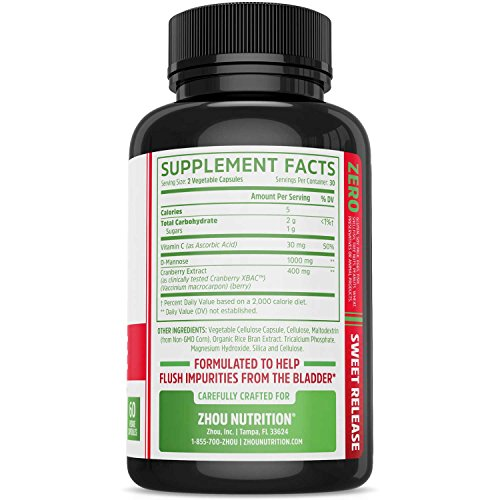 D Mannose with Cranberry Concentrate Urinary Tract Formula - Triple Action Complex with Clinically Tested Cranberry XBAC Powder for Bacterial Antiadherance amp Flushing Impurities - 60 Veggie Capsules Discount