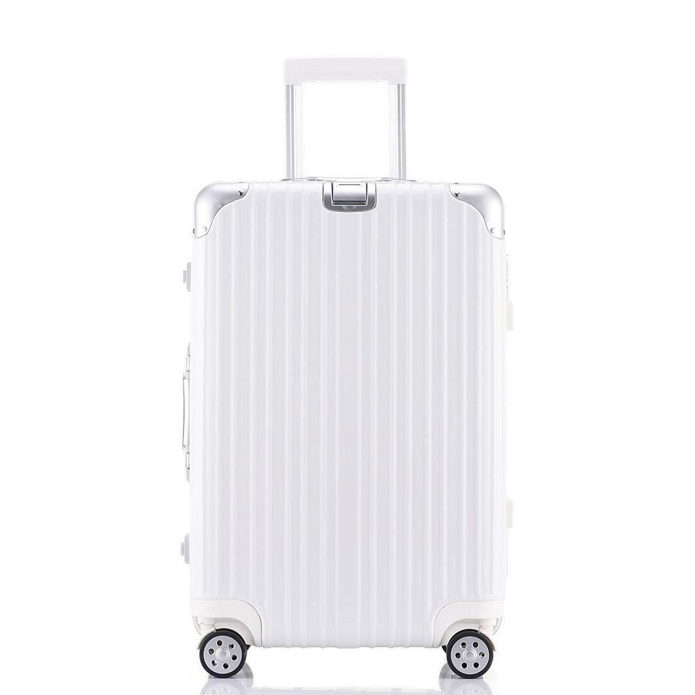 24インチトロリー荷物キャスタースーツケースアルミフレームビジネスボックス学生ボックス20インチ缶ボード (Color : 白, Size : 22 inches)   B07RD5ZH8M