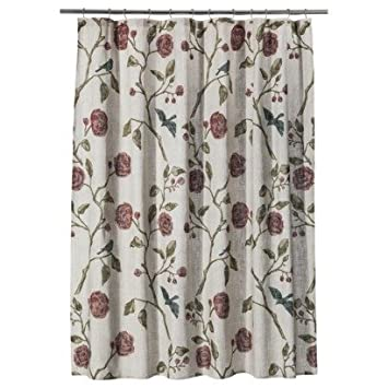 red and tan shower curtain. Threshold Floral Roses Fabric Shower Curtain  72 quot x Bird Tan Amazon com