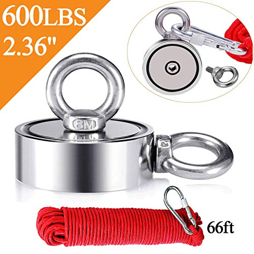 """Uolor Magnet Fishing Kit with Combined 600 LB Double Side Super Strong Fishing Magnet, 66ft Rope and Carabiner for Magnet Fishing, Underwater Metal Detector - 2.36"""" Diameter"""