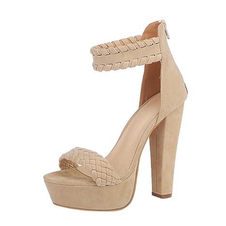 d0c56b00048a3 Xinan Femme Eté Sandales à Talons Épais Talons Hauts Chaussures Strappy Sandales  Cheville avec Plume Confortable