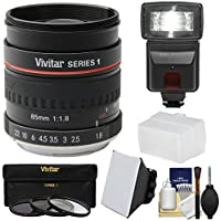 Vivitar 85mm f/1.8 Portrait Lens for Nikon Cameras with 3 UV/CPL/ND8 Filters + Flash + Soft Box & Diffuser + Kit