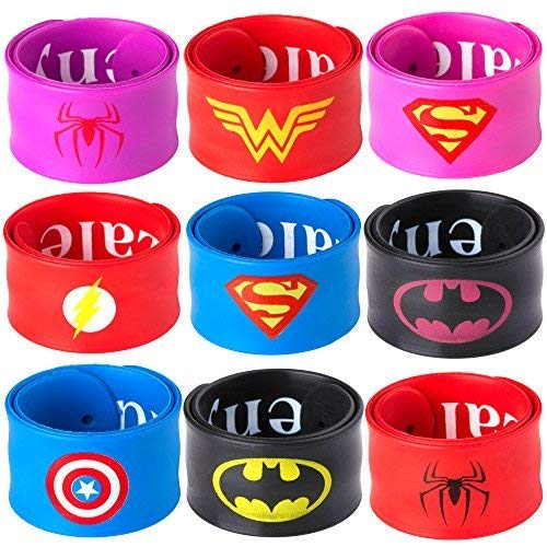 Ecparty Superhero Slap Bracelet for Kids Boys & Girls Birthday Party Supplies Favors (9 Pack) (Mixtype)]()
