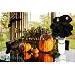 ARTINNOS-Halloween-Black-Flowers-2-Black-Bouquet-Black-Roses-with-14-Heads-Polyester-and-2-Skull-Fake-Black-Roses-Wedding-Bouquet-Centerpieces-Arrangement-Halloween-Party-Decorations