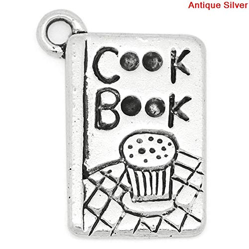- PEPPERLONELY 30pc Antiqued Silver Alloy Book Message Cook Book Carved Charms Pendants 20x14mm (6/8