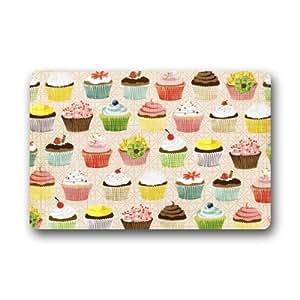 Funny doormats Elegante patrón Cupcakes Rectángulo Entryways–Felpudo Antideslizante Felpudo Alfombra–23,6(L) X 15,7(W), 3/16Espesor de la