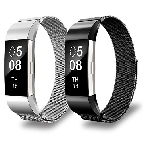 AIUNIT Fitbit Charge2 Bands, Charge2 HR Milanese Loop Stainless Steel Metal Replacement Accessories Wristband with Magnet Lock for Fitbit Charge2 HR and Fitbit Charge2-2pack Black+Silver(No Tracker)