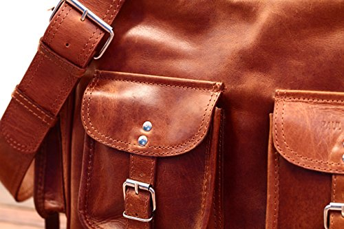 MULTIPOCHES Vintage natural vintage color color estilo carteras LE Retro marrón Bolso amp; piel de MARIUS pockets PAUL bandolera 1fdEnx8
