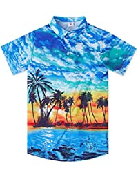 4f0a9dbe Boys Teens 3D Hawaiian Shirts Summer Casual Tropical Beach Holiday Party Short  Sleeve Button Down Aloha