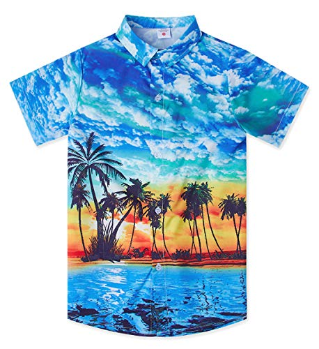Uideazone Teens Boys Tropical Blue Hawaiian 3D Casual Shirts Coco Palm Button Down Tree Pattern Beach Aloha Holiday Blouse Clothing Tops (Hawaiian Boys)