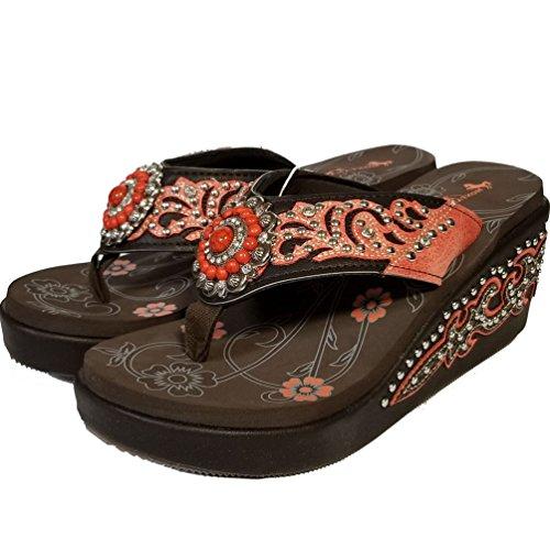 Bk Mulbeadedflower Beaded West Flip Hand Sandals Flop Montana Women's v7xq880