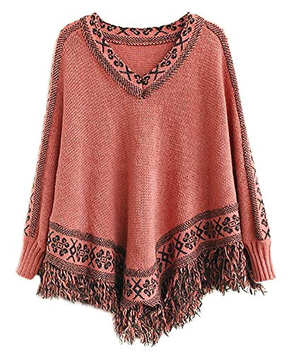 (QZUnique Women's Batwing Sleeve Knit Poncho Cape V Neck Loose Pullover Sweater with Fringe Hem Pink)