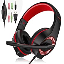Gaming Headset,LYASI 3.5mm Over Ear Wired Game Headphone Earphone Headband with Mic Surround Stereo Bass,Noise Reduction, LED Light for PS4 New Xbox One Nintendo Switch PC Computer Laptop Mobile Phones (Black+Red)