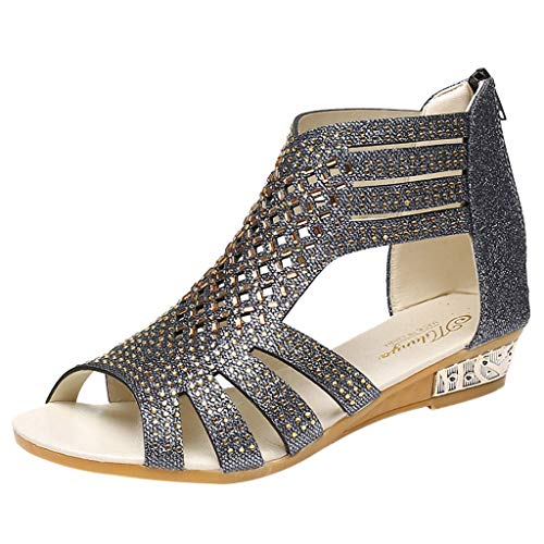Clearance! Hot Sale ❤ Women's Ladies Wedge Sandals Fashion Crystal Bling Hollow Out Roman Shoes Indoor/Outdoor Heels Platform/Flats Shoes for Women Ladies Girl Under 10 Dollars
