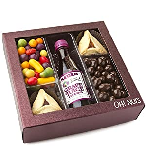 Shalach Manot Purim Gift Basket, Purple Concord Mishloach Manos Gift Basket - Oh! Nuts