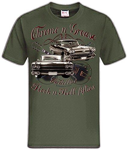 Shirtmatic Motor und Rock Guitars Hot Rod Rock n Roll Rockabilly T-Shirt (XL, Chrome Grease 50s Cadillac Oliv (khaki))