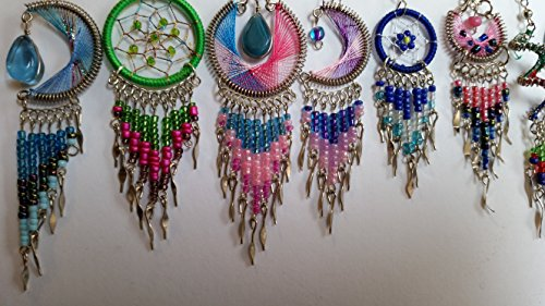 5 pairs of handmade dream catcher thread dangle earrings