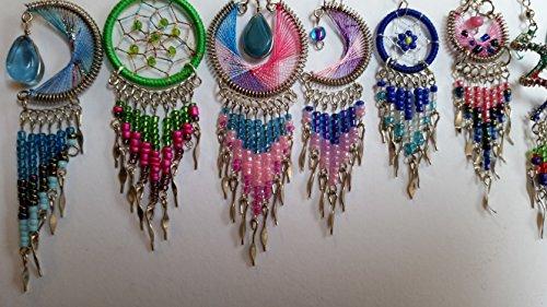5 pairs of handmade dream catcher thread dangle earrings