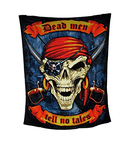 Zeckos Dead Men Tell No Tales Pirate Skull Beach Blanket Towel 54 X 68 in.