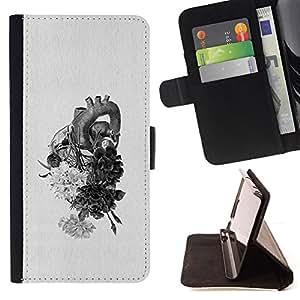 For Samsung Galaxy S6 Edge Plus / S6 Edge+ G928,S-type Coeur dessin au crayon Fleurs - Dibujo PU billetera de cuero Funda Case Caso de la piel de la bolsa protectora