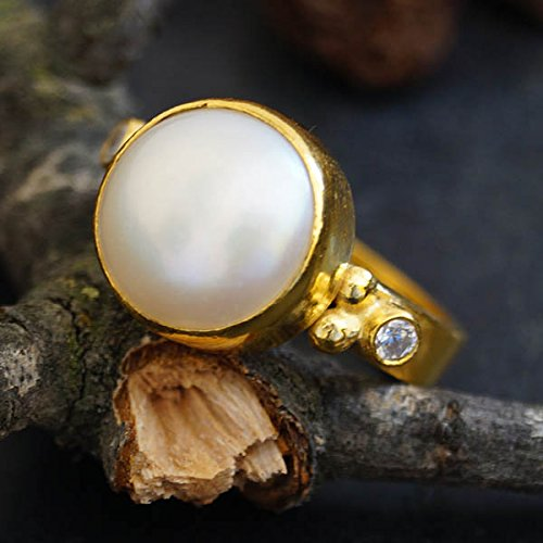Pearl & White Topaz Ring 925k Sterling Silver 24k Yellow Gold Vermeil, Turkish Jewelry Ring, Statement Ring, Handcrafted Jewelry, Artisan Jewelry, Women Ring, Roman Art Jewelry, Fine - Topaz Ring Vermeil