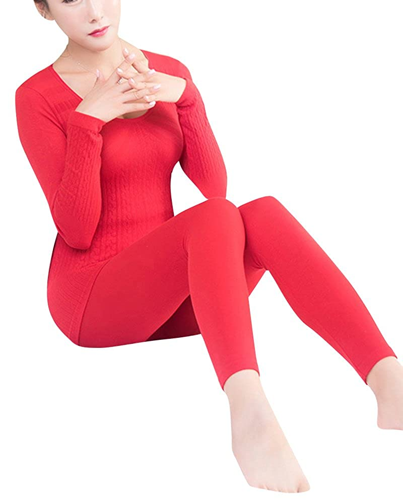 Womens 2 Pc Thermal Underwear Long Sleeve Round Neck Top And Long Pants Set