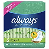 Always Ultra Thin, Size 2, Super Pads With Wings, Unscented, 58 Count, Packaging May Vary