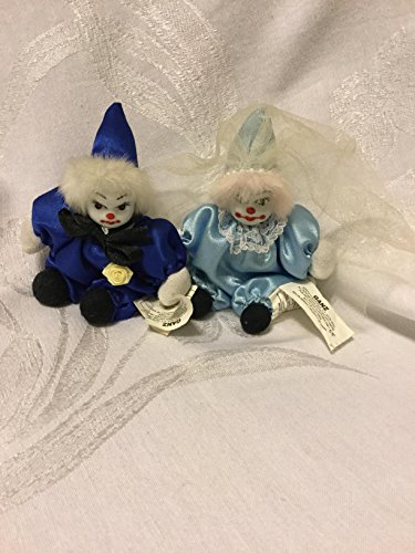 (Vintage Bean Bag Clown Stuffed Arms Legs Porcelain Painted Face by Ganz Bride and Groom)