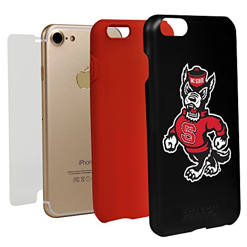 Guard Dog Black Hybrid Case for iPhone 7/8 and Guard Glass Screen Protector (NC State - Wolfpack Glass