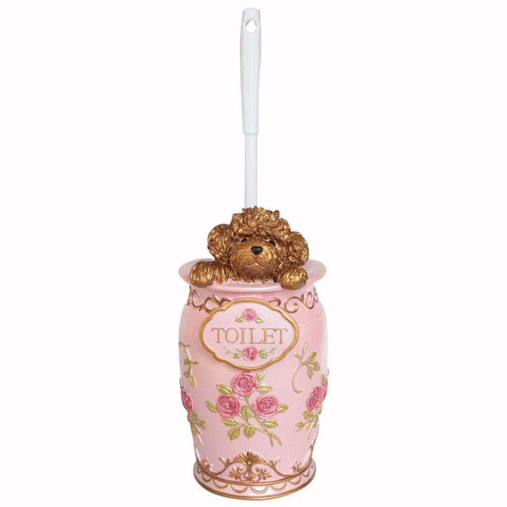 トイレブラシ ベースのトイレブラシとクリエイティブなバスルームの洗面所のブラシトイレかわいいテディトイレブラシ樹脂 バストイレ洗面用品 (色 : ピンク) B07QS268QG ピンク